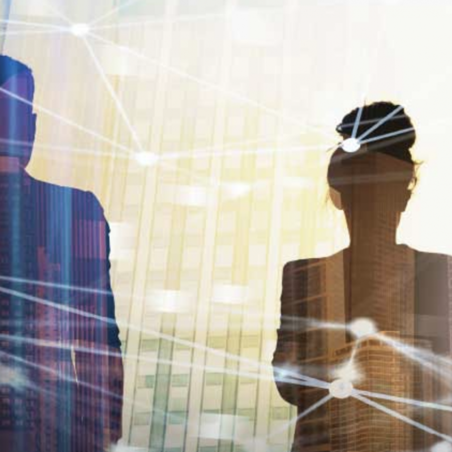 double exposure image, executives in meeting