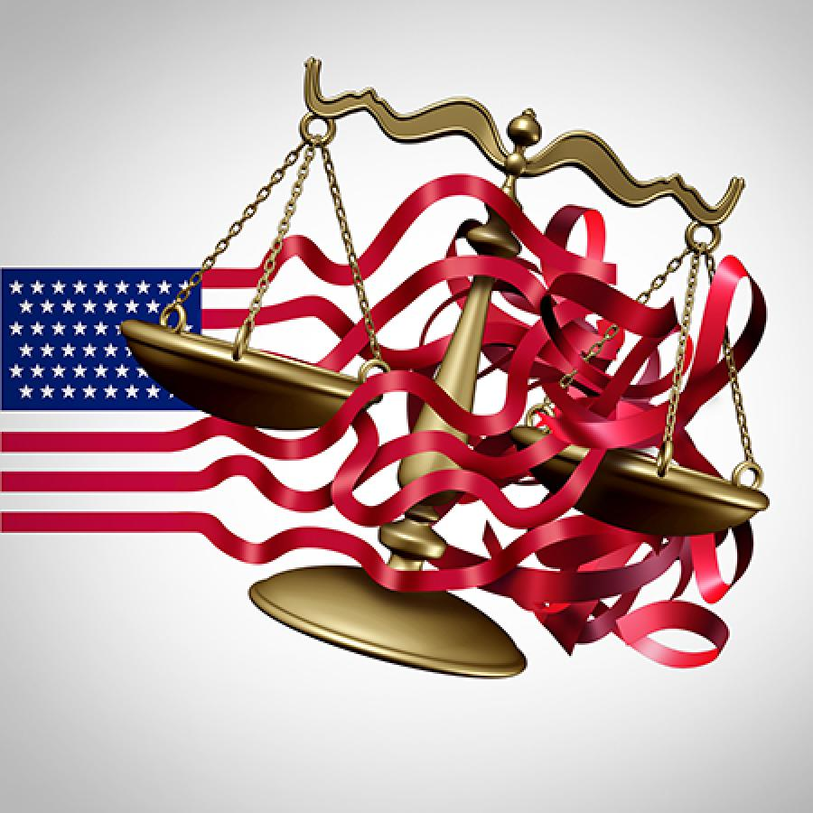 justice scale tied in american flag